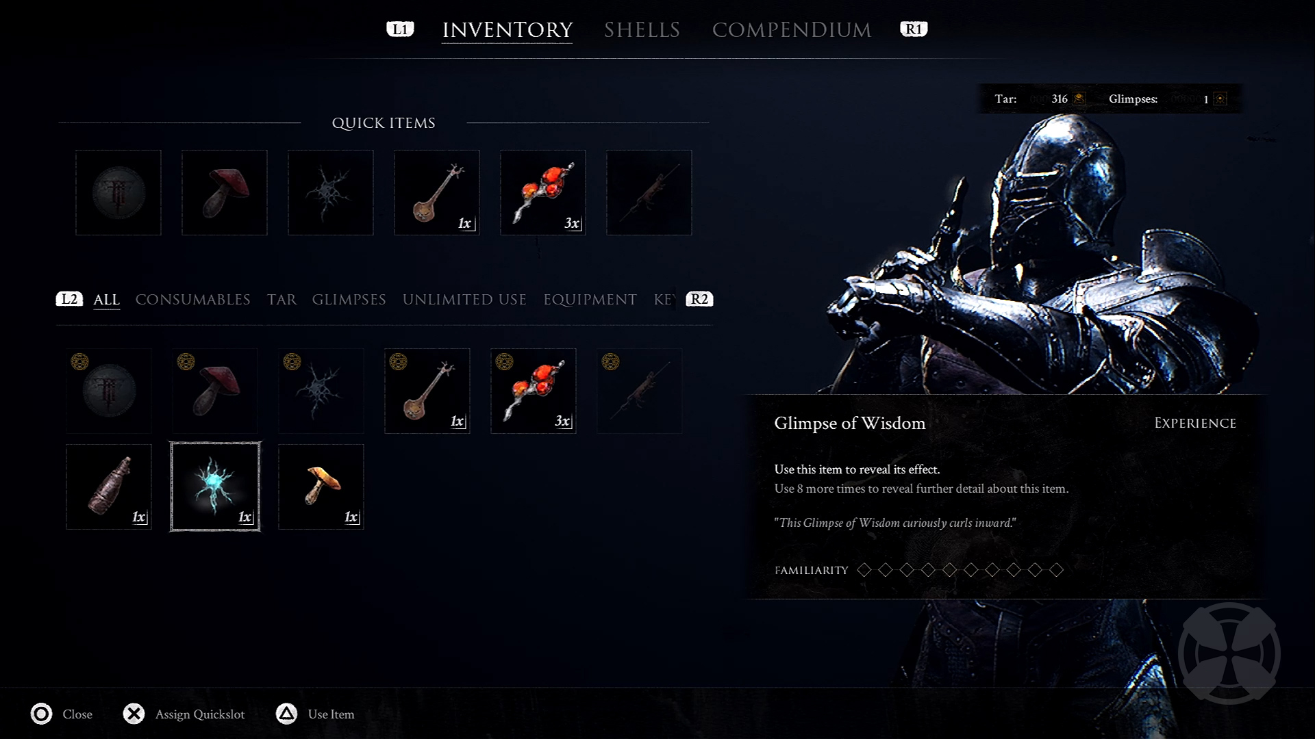 Image of Mortal Shell's inventory screen.