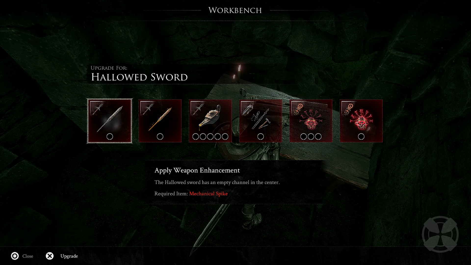 Image of weapon upgrading in Mortal Shell.